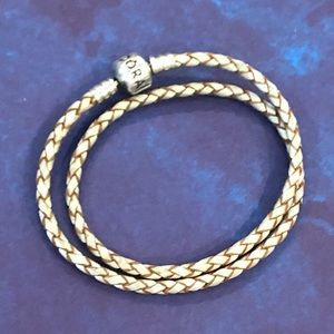 Pandora champagne double wrap leather bracelet